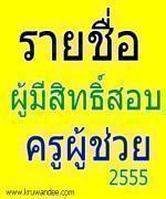 อัพเดทล่าสุด ประกาศรายชื่อผู้มีสิทธิ์สอบบรรจุครู 2555