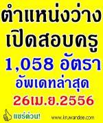อัพเดท!!! ข้อมูลตำแหน่งว่างเปิดสอบครู2556 ล่าสุด 1,058 อัตรา 34 วิชาเอก(26เม.ย.2556)