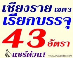 สพป.เชียงราย เขต 3 เรียกบรรจุครูผู้ช่วย จำนวน 43 อัตรา - รายงานตัว วันที่ 25 กรกฎาคม 2556