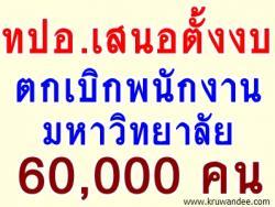 ทปอ.เสนอตั้งงบตกเบิกพนักงานมหาวิทยาลัย 60,000 คน