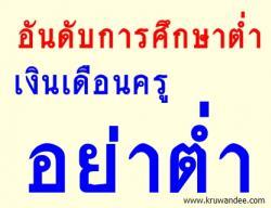 อันดับการศึกษาต่ำ เงินเดือนครูไทยอย่าต่ำ รมช.ศธ. ย้ำเพื่อเป็นขวัญกำลังใจให้ครูทำงาน