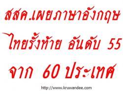 ไทยภาษาอังกฤษเกือบรั้งบ๊วย อันดับ55จาก60ชาติ