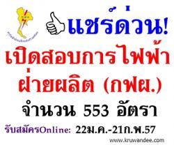 ด่วน! เปิดสอบการไฟฟ้าฝ่ายผลิต (กฟผ.) 2557 จำนวน 553 อัตรา - รับสมัคร 22 มกราคม ถึง 21 กุมภาพันธ์ 2557