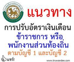 แนวทางการปรับอัตราเงินเดือนข้าราชการหรือพนักงานส่วนท้องถิ่น ตามบัญชี 1 และบัญชี 2