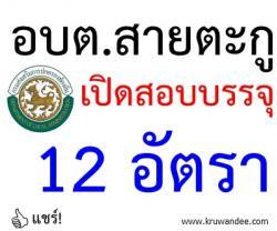 องค์การบริหารส่วนตำบลสายตะกู เปิดสอบบรรจุ จำนวน 12 อัตรา - รับสมัคร13 กุมภาพันธ์ - 6 มีนาคม 2557