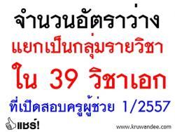 จำนวนอัตราว่างแยกเป็นกลุ่มรายวิชา ใน 39 วิชาเอกที่เปิดสอบครูผู้ช่วย 1/2557