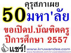 เผยกว่า50มหา'ลัยขอเปิดป.บัณฑิตครู ปีการศึกษา 2557