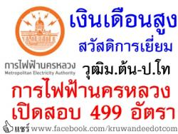 เงินเดือนสูง สวัสดิการดี การไฟฟ้านครหลวง เปิดสอบบรรจุ 499 อัตรา วุฒิม.ต้น ถึง ป.โท รับสมัครออนไลน์ 7-16 พฤษภาคม 2557