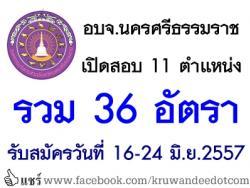 อบจ.นครศรีธรรมราช เปิดสอบ 11 ตำแหน่ง รวม 36 อัตรา - รับสมัครวันที่ 16-24 มิถุนายน 2557