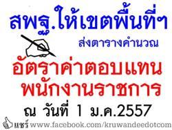 สพฐ.ให้เขตพื้นที่ฯ ส่งตารางคำนวณอัตราค่าตอบแทนพนักงานราชการ ณ วันที่ 1 ม.ค.2557