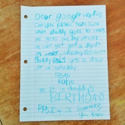 ลูกสาวเขียนจดหมายถึงกูเกิล ขอให้พ่อหยุดงานในวันเกิด