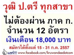 วุฒิปริญญาตรี ทุกสาขา เงินเดือน 18,000 บาท (ไม่ต้องผ่าน ภาค ก.) มหาวิทยาลัยราชภัฏสวนดุสิต เปิดสอบพนักงานราชการ 12 อัตรา - รับสมัคร วันที่ 15 - 31 กรกฎาคม 2557