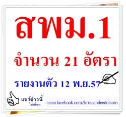 สพม.1 เรียกบรรจุครู 21 อัตรา - รายงานตัว 12 พ.ย.57