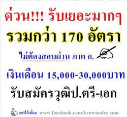 ด่วน!!! ไม่ต้องผ่านภาค ก. 170 อัตรา วุฒิป.ตรี-เอก เงินเดือน 15,000-30,000บาท