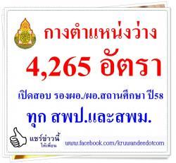 กางตำแหน่งว่าง 4,265 อัตรา เปิดสอบ รองผอ./ผอ.สถานศึกษา สังกัด สพฐ. ประจำปี 2558