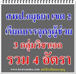 สพป.อยุธยา เขต 2 เรียกบรรจุครู 4 อัตรา รายงานตัว 2 กุมภาพันธ์ 2558