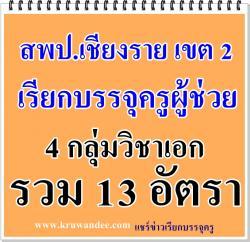 สพป.เชียงราย เขต 2 เรียกบรรจุครู 13 อัตรา - รายงานตัว 11 กุมภาพันธ์ 2558