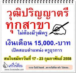 โรงเรียนบ้านหนองพงนก รับสมัครครูธุรการ ตั้งแต่วันที่ 17 – 23 กุมภาพันธ์ 2558