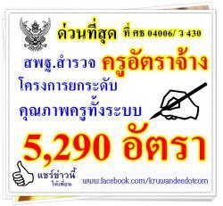 ด่วนที่สุด ที่ ศธ 04006/ ว 430 สำรวจครูอัตราจ้างโครงการยกระดับคุณภาพครูทั้งระบบ 5,290 อัตรา