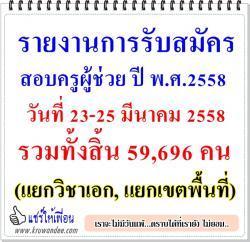รายงานการรับสมัครสอบแข่งขันฯ ตำแหน่งครูผู้ช่วย ปี พ.ศ.2558 วันที่ 23-25 มีนาคม 2558