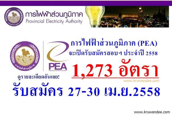 เปิดรับพร้อมกันทั่วประเทศ 1,273 อัตรา การไฟฟ้าส่วนภูมิภาค เปิดสอบ กฟภ ปี 2558 - ประกาศ 16-30 เมษายน 2558 นี้