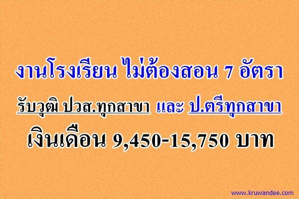 งานโรงเรียน ไม่ต้องสอน รับวุฒิ ปวส.ทุกสาขา ป.ตรีทุกสาขา เงินเดือน 9,450-15,750 บาท