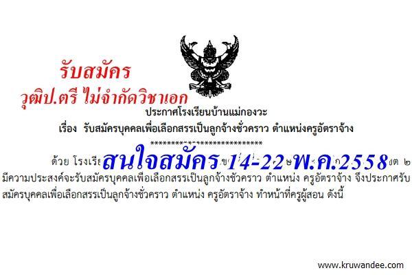 โรงเรียนบ้านแม่กองวะ รับสมัครครูอัตราจ้าง ไม่จำกัดวิชาเอก สมัคร 14-22 พ.ค.2558