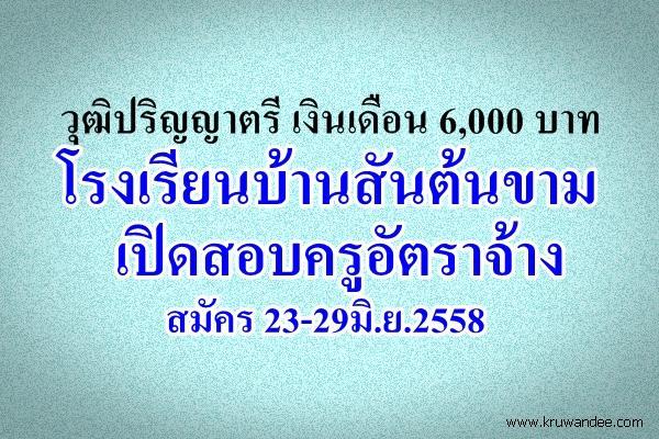วุฒิปริญญาตรี เงินเดือน 6,000 บาท โรงเรียนบ้านสันต้นขาม เปิดสอบครูอัตราจ้าง สมัคร 23-29มิ.ย.2558