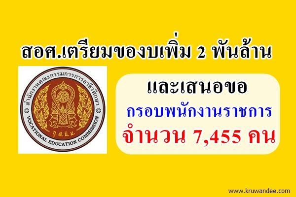 สอศ.เตรียมของบเพิ่ม 2 พันล้าน - เสนอขอกรอบพนักงานราชการ จำนวน 7,455 คน