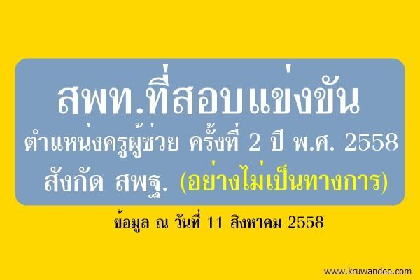 112 เขต เปิดสอบแข่งขันครูผู้ช่วย ครั้งที่ 2 ปี พ.ศ.2558 สังกัด สพฐ.