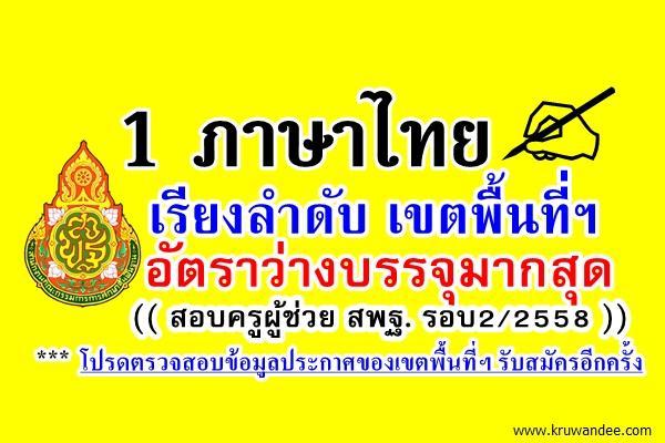 เช็คกันเลย! เรียงให้แล้ว เอกภาษาไทย เขตไหนอัตราว่าง บรรจุครูผู้ช่วย รอบ2/2558 มากที่สุด คลิกที่นี่