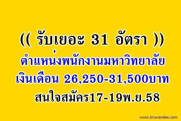 (( รับเยอะ 31 อัตรา )) ตำแหน่งพนักงานมหาวิทยาลัย เงินเดือน 26,250-31,500บาท สมัคร17-19พ.ย.58