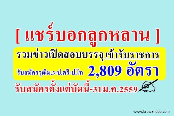 แชร์บอกลูกหลาน!!! รวมข่าวเปิดสอบเข้ารับราชการ 2,809 อัตรา รับสมัครตั้งแต่บัดนี้-31ม.ค.2559
