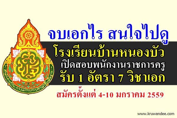 จบเอกไร สนใจไปดู โรงเรียนบ้านหนองบัว เปิดสอบพนักงานราชการครู รับ 1 อัตรา 7 วิชาเอก