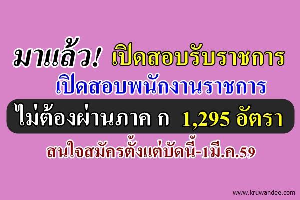 คัดเน้นๆ รับปีใหม่ !!! ข่าวสอบรับราชการ/พนักงานราชการ ไม่ต้องผ่านภาค ก 1,295 อัตรา ตั้งแต่บัดนี้-1มี.ค.59