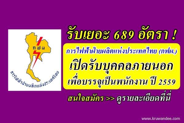รับเยอะ 689 อัตรา การไฟฟ้าฝ่ายผลิตแห่งประเทศไทย (กฟผ.) เปิดรับบุคคลภายนอกเพื่อบรรจุเป็นพนักงาน ปี 2559