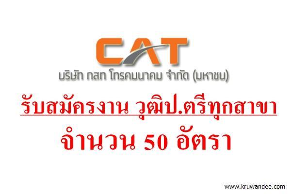 ข่าวดี! CAT กสท โทรคมนาคม รับสมัครงานวุฒิป.ตรีทุกสาขา จำนวน 50 อัตรา สนใจดูรายละเอียด
