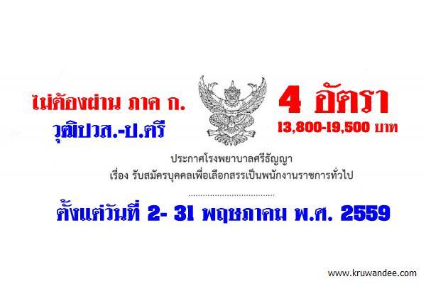 โรงพยาบาลศรีธัญญา เปิดสอบพนักงานราชการทั่วไป 4 อัตรา 2-31พ.ค.59