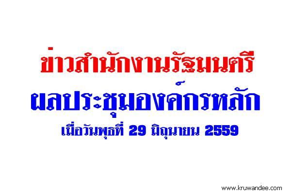 ข่าวสำนักงานรัฐมนตรี 270/2559 ผลประชุมองค์กรหลัก