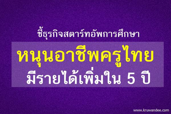 ชี้ธุรกิจสตาร์ทอัพการศึกษา หนุนอาชีพครูไทย มีรายได้เพิ่มใน 5 ปี