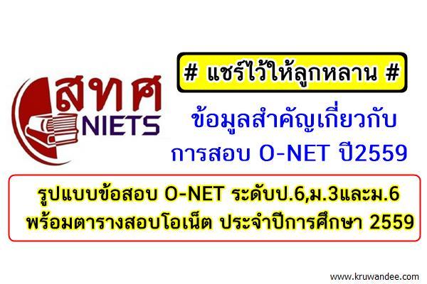 แชร์ไว้ให้ลูกหลาน ข้อมูลสำคัญเกี่ยวกับการสอบ O-NET ปี2559 ระดับป.6,ม.3และม.6 (พร้อมตารางสอบ)