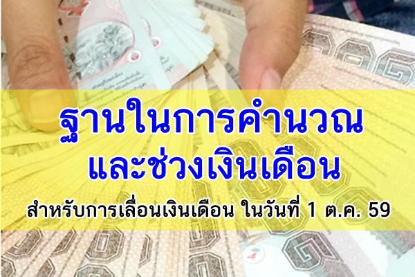 ฐานในการคำนวณและช่วงเงินเดือนสำหรับการเลื่อนเงินเดือนในวันที่ 1 ตุลาคม 2559