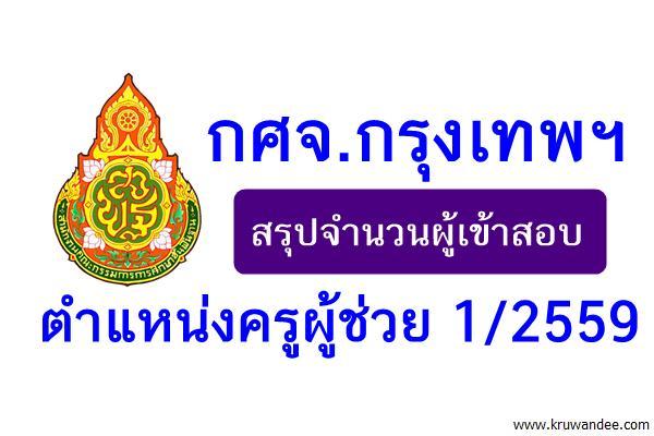 กศจ.กรุงเทพฯ สรุปจำนวนผู้เข้าสอบครูผู้ช่วย 1/2559