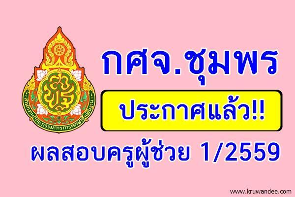 กศจ.ชุมพร ประกาศผลสอบครูผู้ช่วย 1/2559