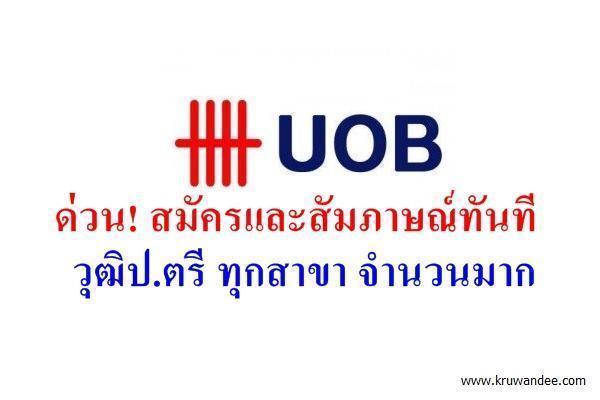 (วุฒิปริญญาตรี ทุกสาขา ) สมัครและสัมภาษณ์ทันที ธนาคาร UOB รับวุฒิปริญญาตรีหลายอัตรา