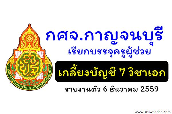 กศจ.กาญจนบุรี เรียกบรรจุครูผู้ช่วย เกลี้ยงบัญชี 7 วิชาเอก รายงานตัว 6ธันวาคม 2559