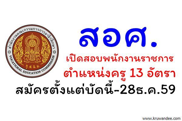สำนักงานคณะกรรมการการอาชีวศึกษา เปิดสอบพนักงานราชการครู 13 อัตรา สมัครตั้งแต่บัดนี้-28ธ.ค.59