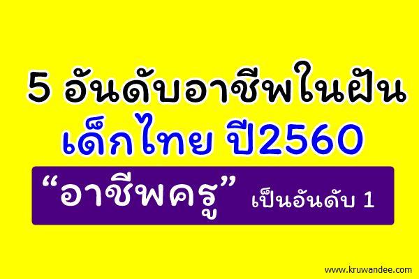 """ส่องอาชีพในฝันเด็กไทยปี 2560 """"อาชีพครู"""" เป็นอันดับ 1 ของอาชีพในฝันเด็กไทยปีนี้"""
