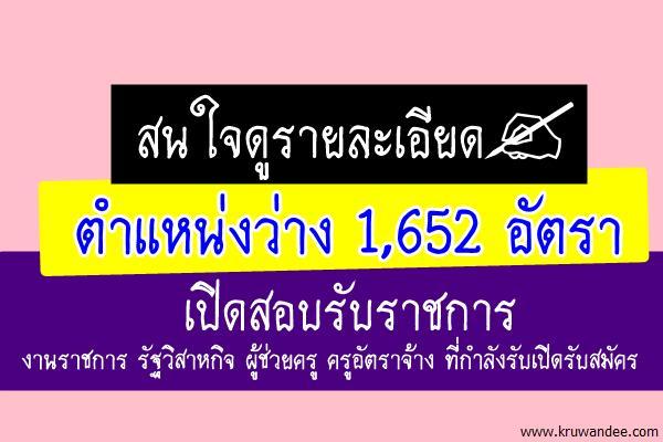 แชร์เลย! คัดตำแหน่งงานว่าง จำนวน 1,652 อัตรา เปิดสอบรับราชการ งานราชการ รัฐวิสาหกิจ ที่กำลังรับสมัคร