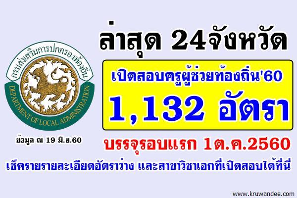 ล่าสุด24จังหวัด เปิดสอบครูผู้ช่วยท้องถิ่น 1,132 อัตรา บรรจุรอบแรก 1ต.ค.2560
